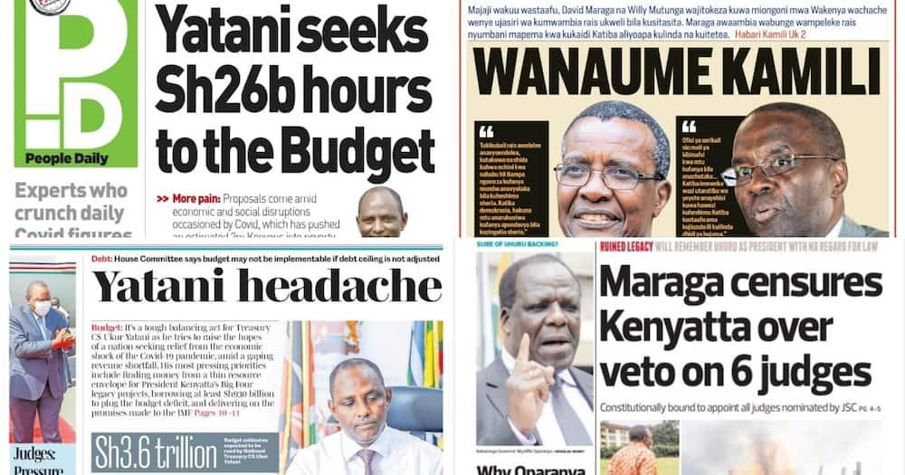Newspapers Review for June 10: National Treasury CS Ukur Yatani to Present KSh 3.6 trillion Budget