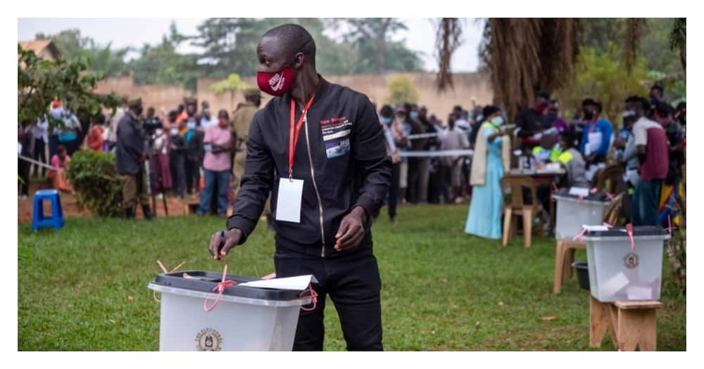 A voter casts his vote during Uganda's Thursday, January 14, election. Photo: NBS