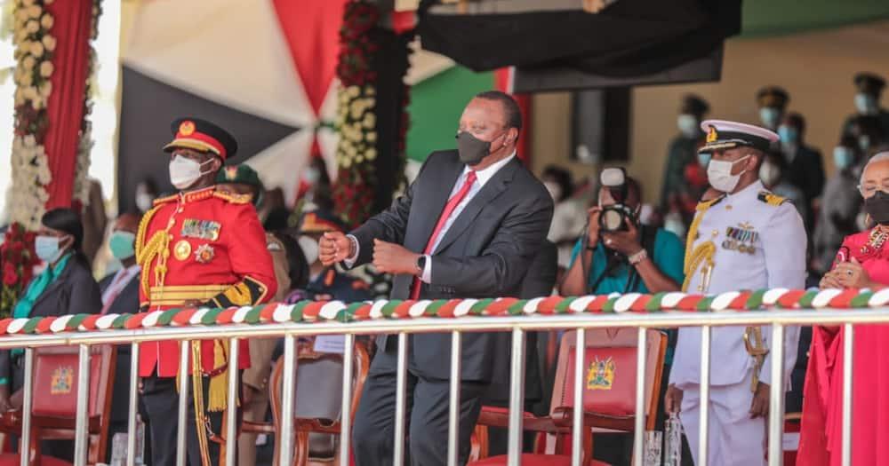 President Uhuru Kenyatta dancing during Madaraka Day celebration in Kisumu. Photo: Philosopher.