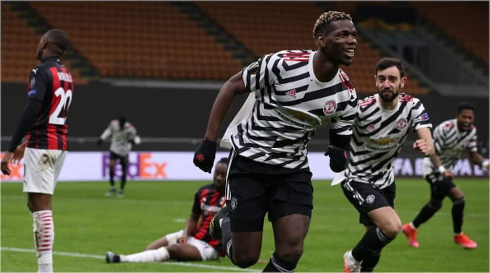 Paul Pogba scores as Manchester United knock AC Milan out of Europa League