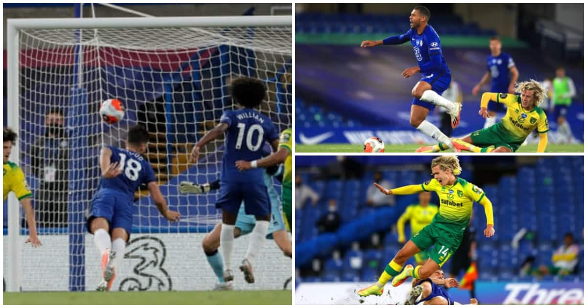 Olivier Giroud scores as Chelsea down Norwich at Stamford Bridge