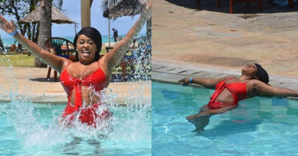 Lilian Muli displays appealing curves in spicy, red bikini during vacay