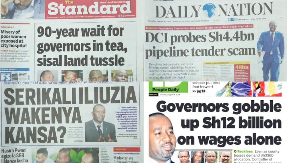Kenyan newspapers review for August 6: Former KEBs boss foresaw cancer menace in 2010, blamed it on imported maize