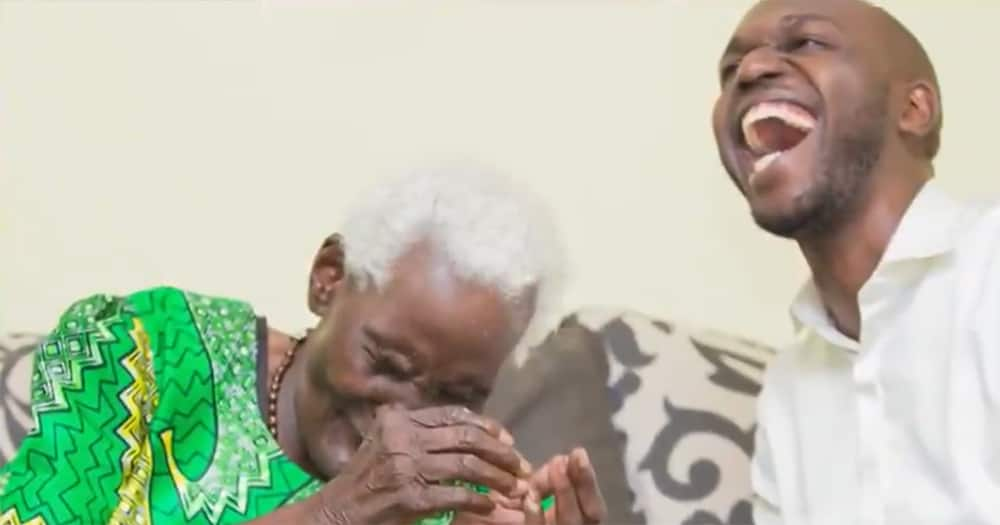 Larry Madowo and his grandmother.