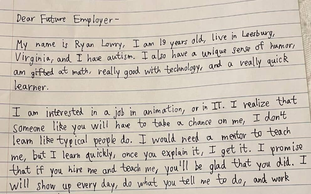 """Autistic 20-year-old writes heartfelt letter for future employers: """"take a chance on me"""""""