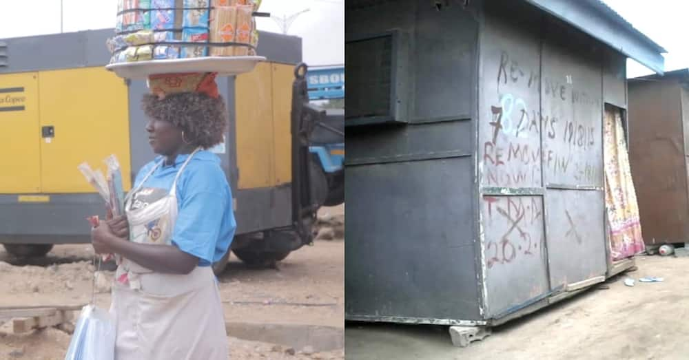Meet Ghanaian mom of 4 living in kiosk with all kids; says her downfall was due to men