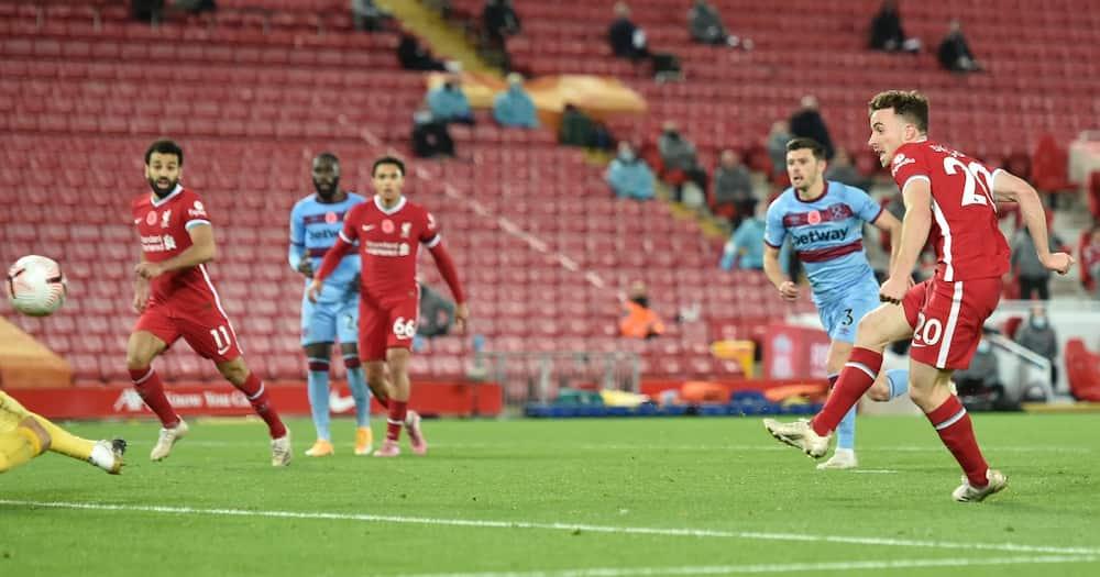 Diogo Jota scored dramatic late winner as Liverpool beat WestHam 2-1