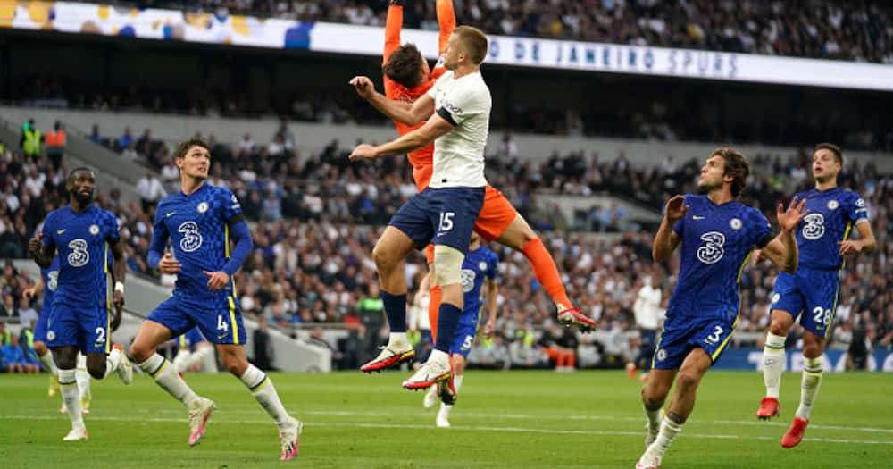 Chelsea goalkeeper Kepa Arrizabalaga saves a shot from Tottenham Hotspur's Eric Dier during the Premier League match at the Tottenham Hotspur Stadium, London. Picture date: Sunday September 19, 2021. (Photo by Tim Goode/PA Images via Getty Images)