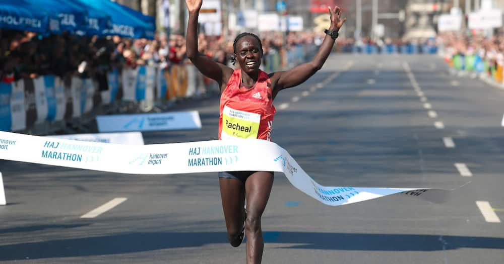 Racheal Mutgaa storms to victory during the 2019 Hannover Marathon. Photo: Athletics Illustrated.