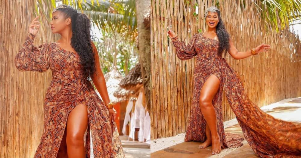 Julie Gichuru stylishly defies age in trendy, revealing dress
