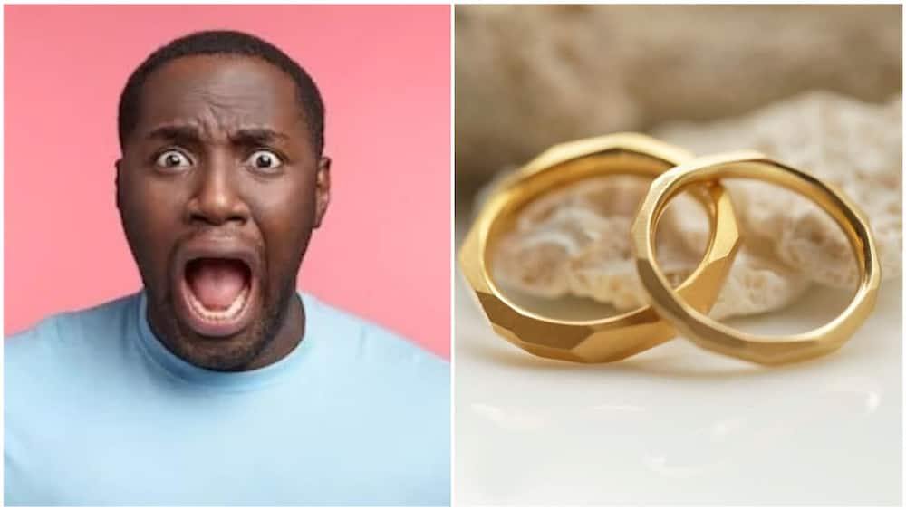 An illustrative collage of a man and wedding rings. Photo source: Shutterstock