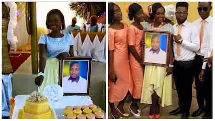 Beautiful lady gets married to husband's portrait, stages lavish wedding ceremony (photos)