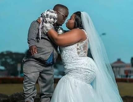 Beautiful lady marries dwarf husband, releases viral wedding photo