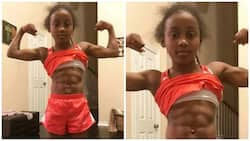 Beautiful 9-year-old girl shows off her big muscles and 6 packs on social media (photos)